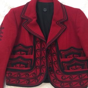 Beautiful Wool Red & Black Embroidered Blazer, S